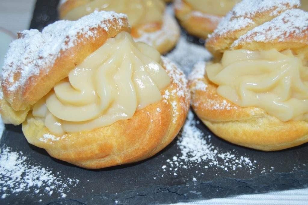 como hacer lionesas o profiteroles rellenos de crema pastelera