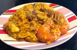 como hacer un arroz con carne de pavo y gambas