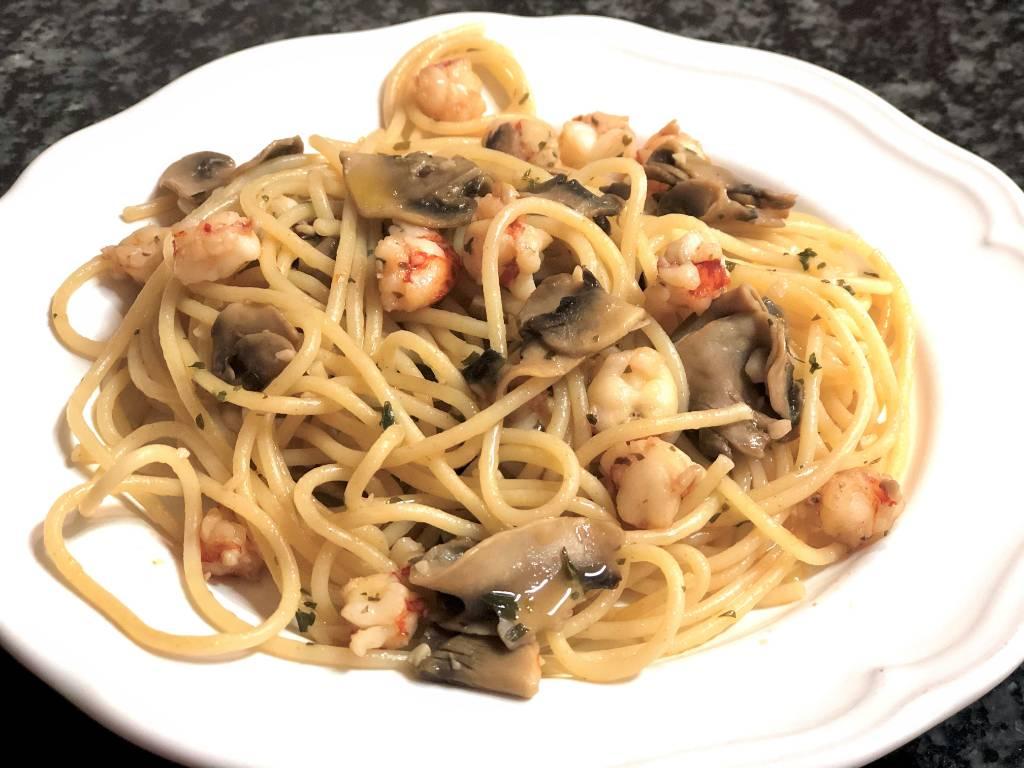 como hacer espaguetis con gambas